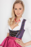 3-piece longer-length dirndl in purple, with pink apron