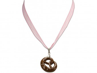 Trachten Necklace with Pretzel Pendant, Rose Pink
