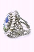 Vorschau: Ring mit Perlenrand antik blau