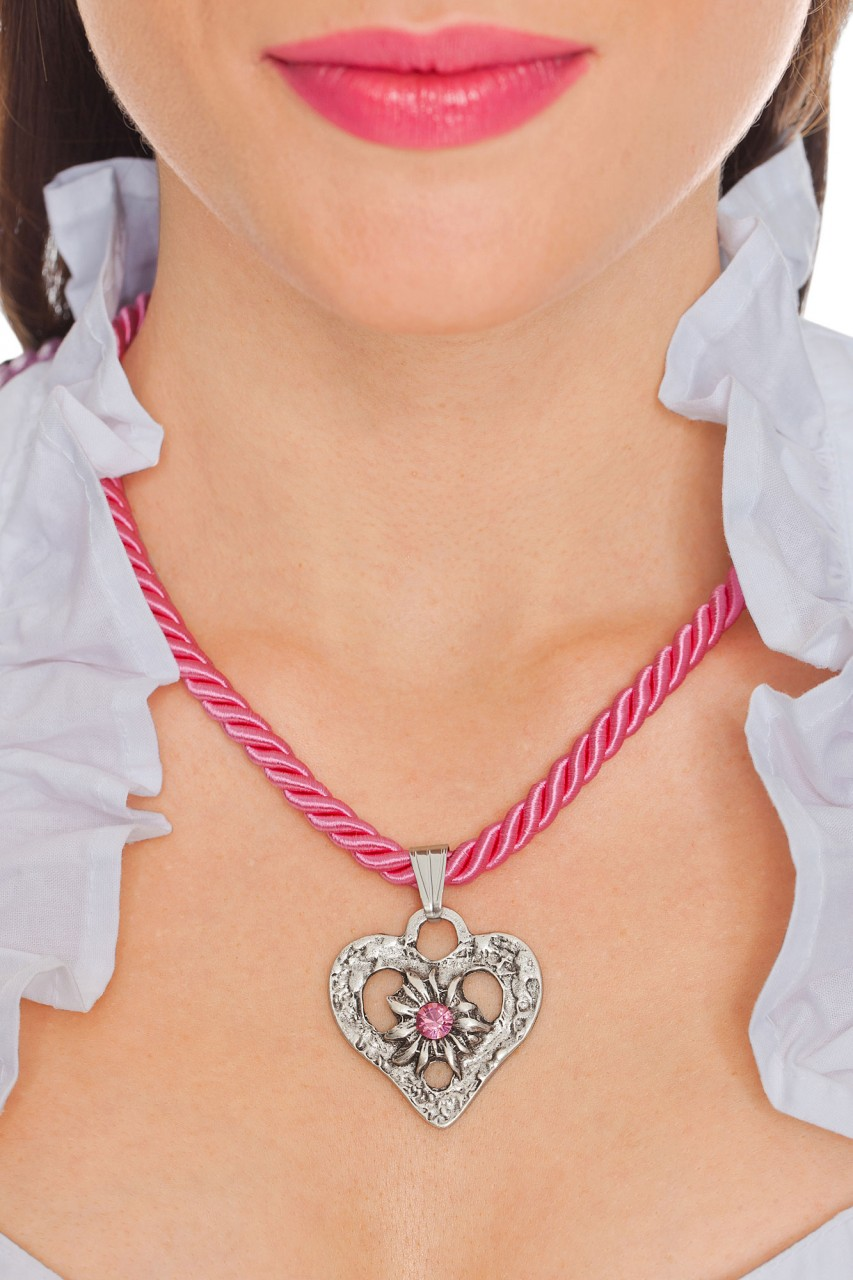 Kordelkette Herz mit Stein, pink