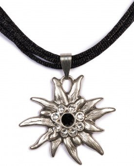 Satin Edelweiss Necklace, Black