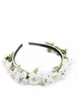 Bud-rose hoofdband wit