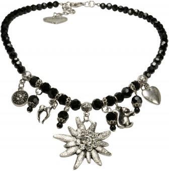 Edelweiß Perlenhalskette Marie schwarz