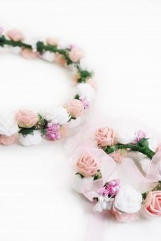Haarkranz und Armband Set rosa