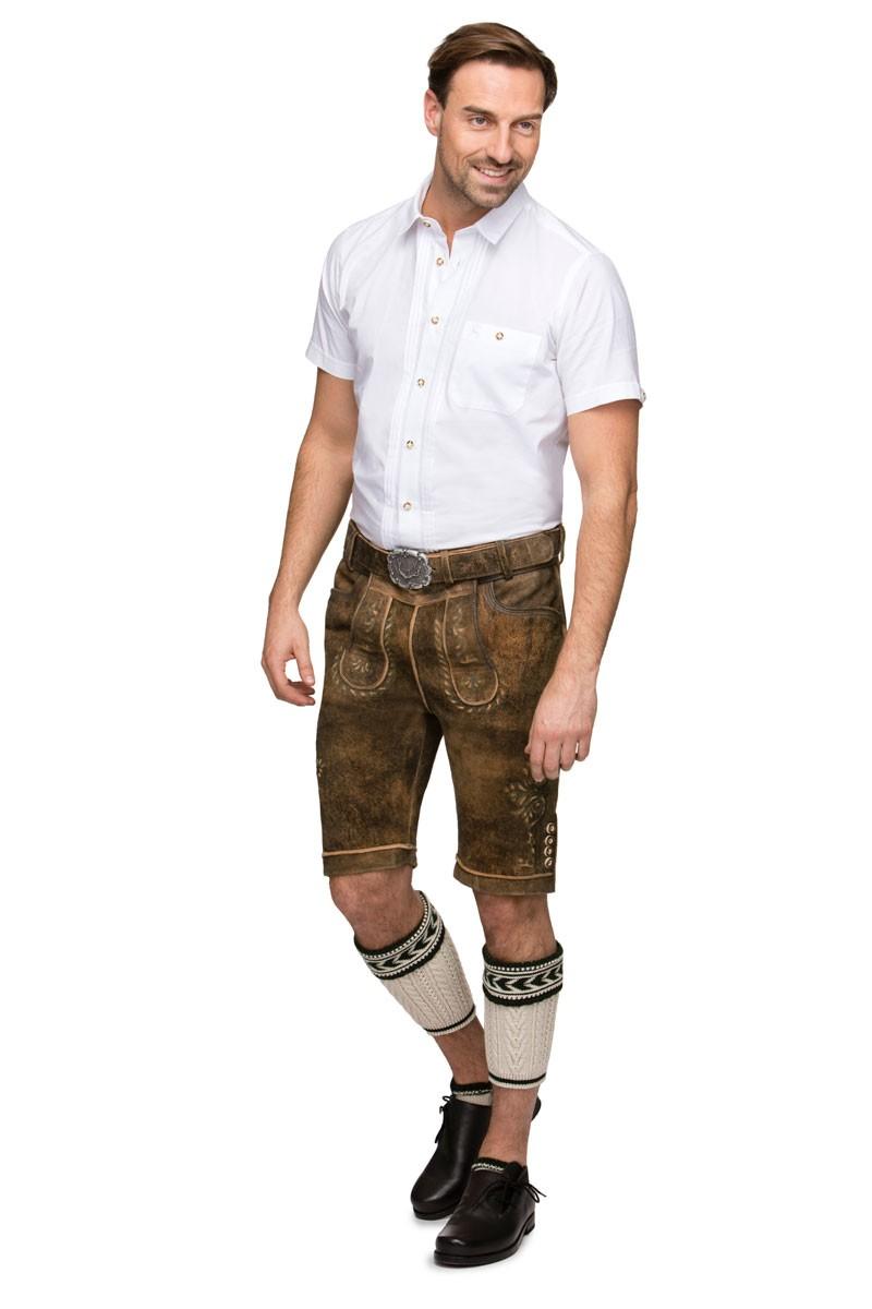 brillante nella lucentezza prese di fabbrica sulle immagini di piedi di Pantaloni in pelle Sepp brown