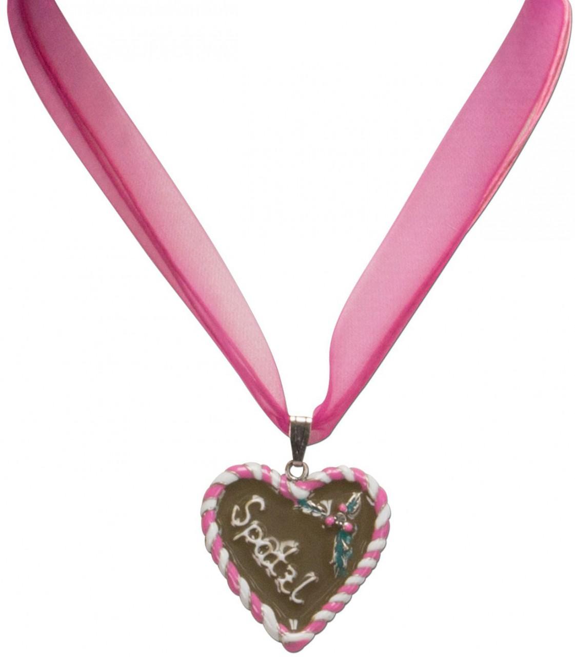 Organza-Trachtenkette Spatzl pink