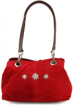 Suede Purse with Edelweiß Motif, Red