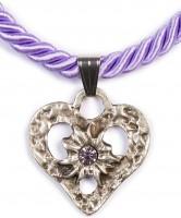 Kordelkette Herz mit Stein, lila