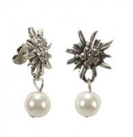 Vorschau: Edelweiß Ohrstecker mit Perle