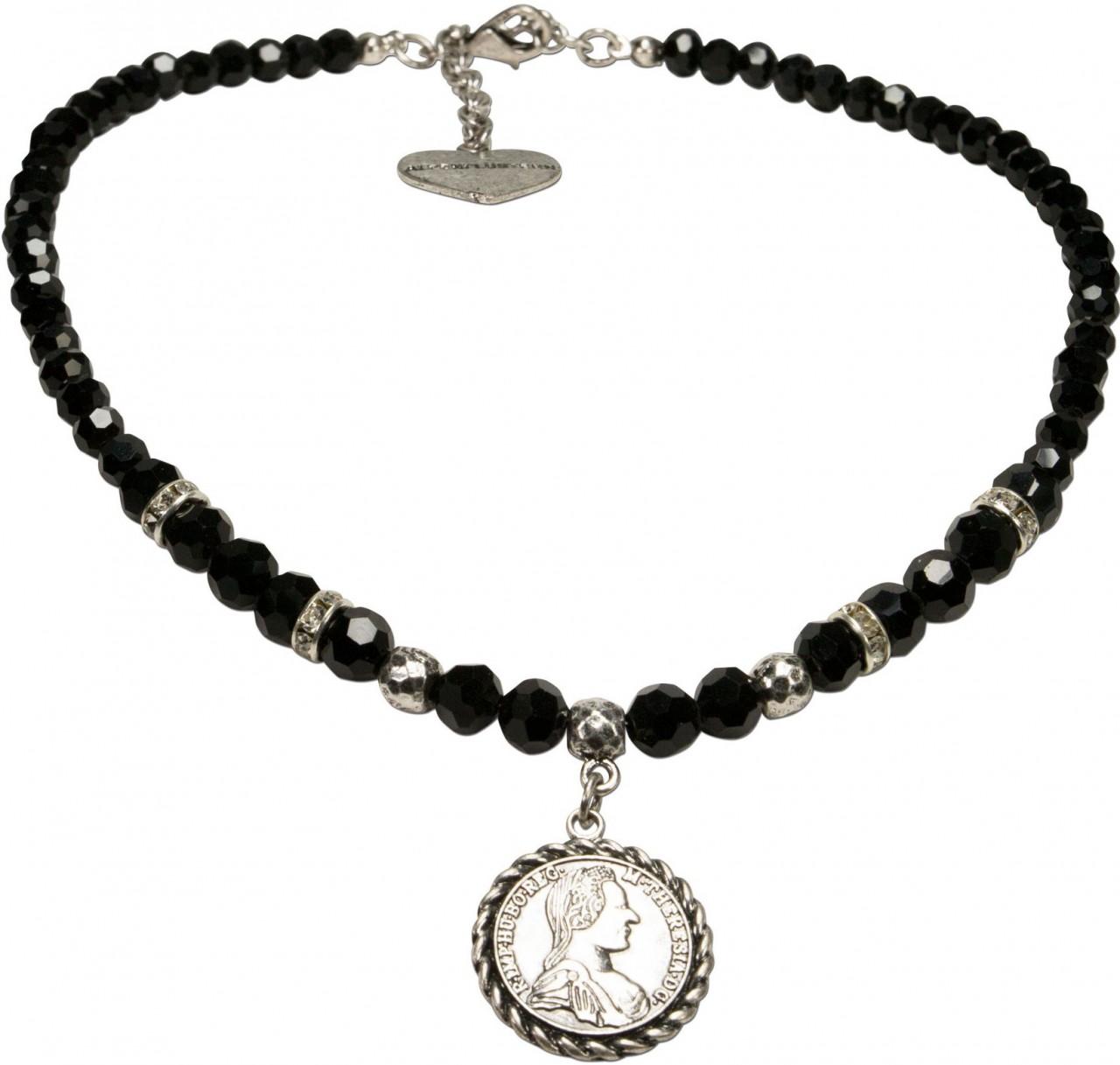 Münz-Perlenkette Lea schwarz