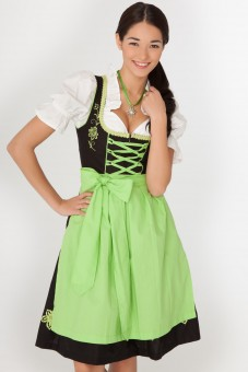 3-piece midi-dirndl in black, includes apron and blouse