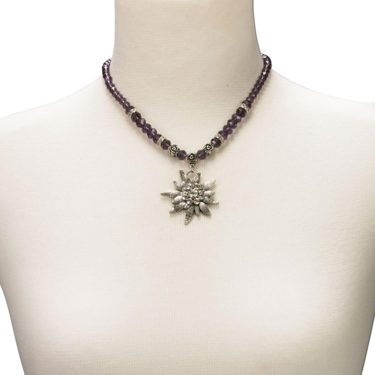 Trachtenkette großes Edelweiß lila