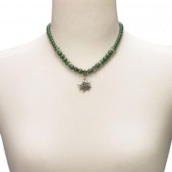 Trachtenkette kleines Edelweiß grün