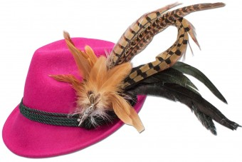 Trachten Felt Hat with Feathers, Pink