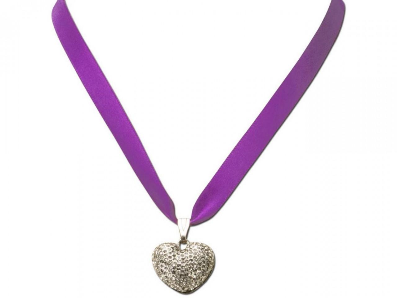 Satin Halskette mit Strassherzerl lila
