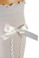 Preview: Ladies Stockings with Ruffle & Bow, White