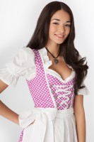 3-piece purple polka dot dirndl with white apron