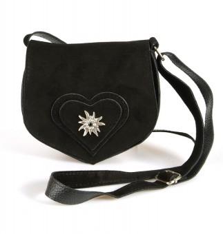 Zamszowa torba w kształcie serca czarna