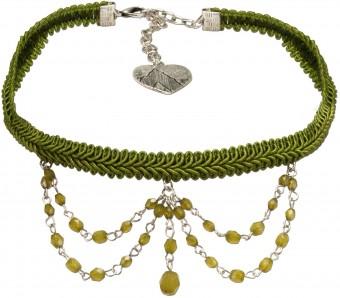 Borten-Kropfband Felicitas grün