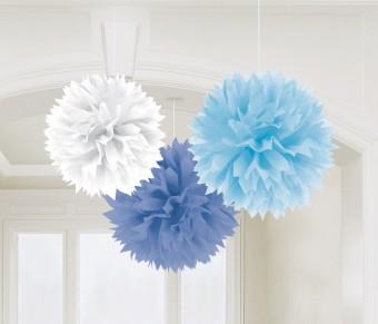 3 Pompons blau weiß