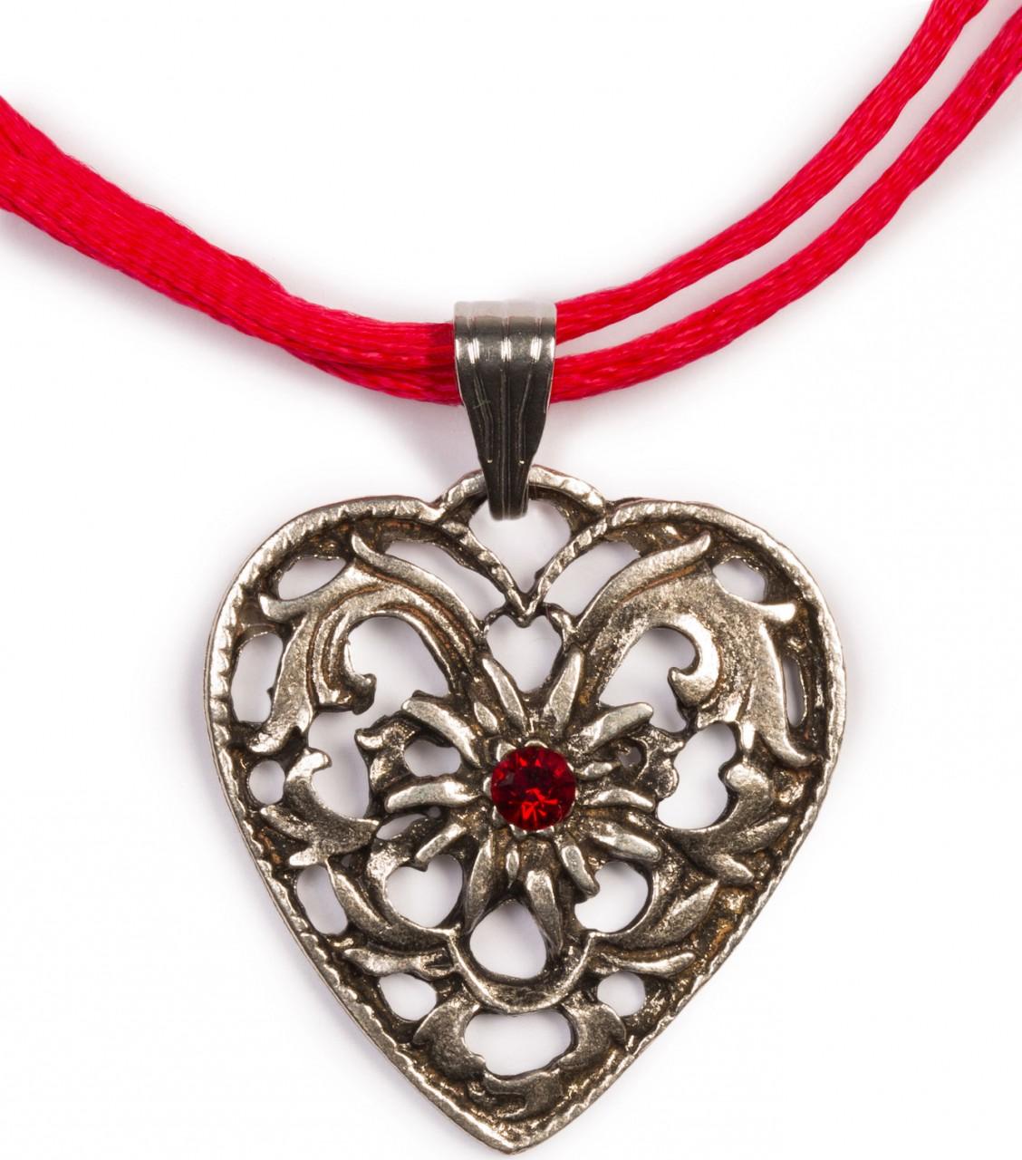 Herzkette mit Stein und 2 Satinbändern, rot