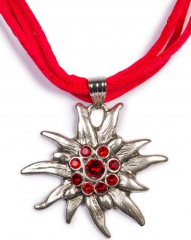 Satin Edelweiss Necklace, Red