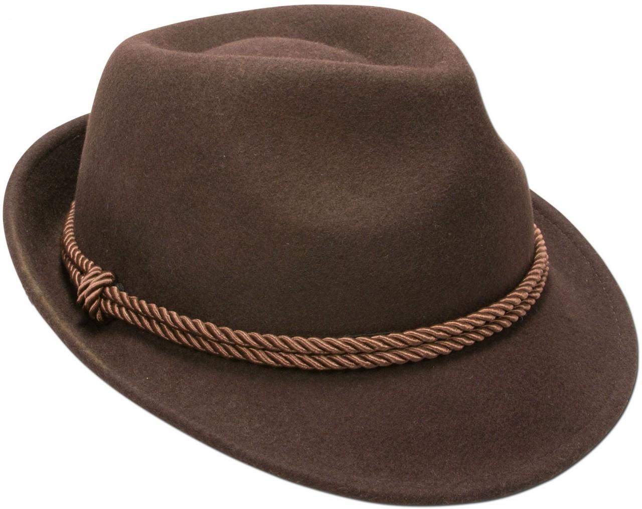 Chapeau en feutre avec cordelette marron
