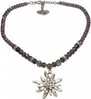 Vorschau: Trachtenkette großes Edelweiß lila