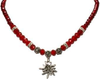Trachten Pearl Necklace with Edelweiss, Red