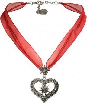 Organza Trachtenkette Maria rot