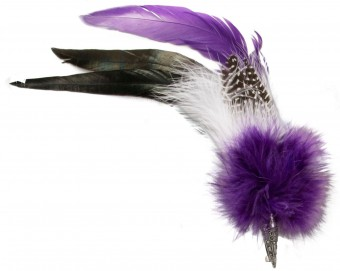 Hat Brooch, Rooster Feather, Purple