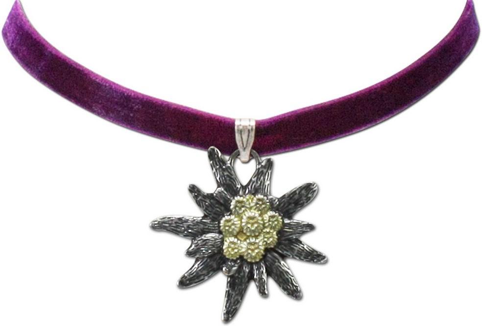 Samtkropfband großes Edelweiß lila