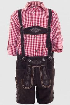 Chłopięce skórzane spodnie Kaiser Junior ciemnobrązowe