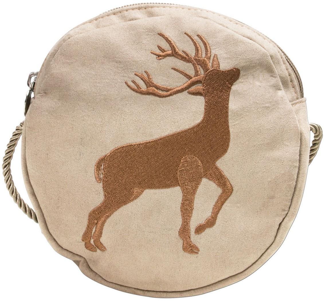 Trachten Rundtasche mit Hirsch-Stickerei beige