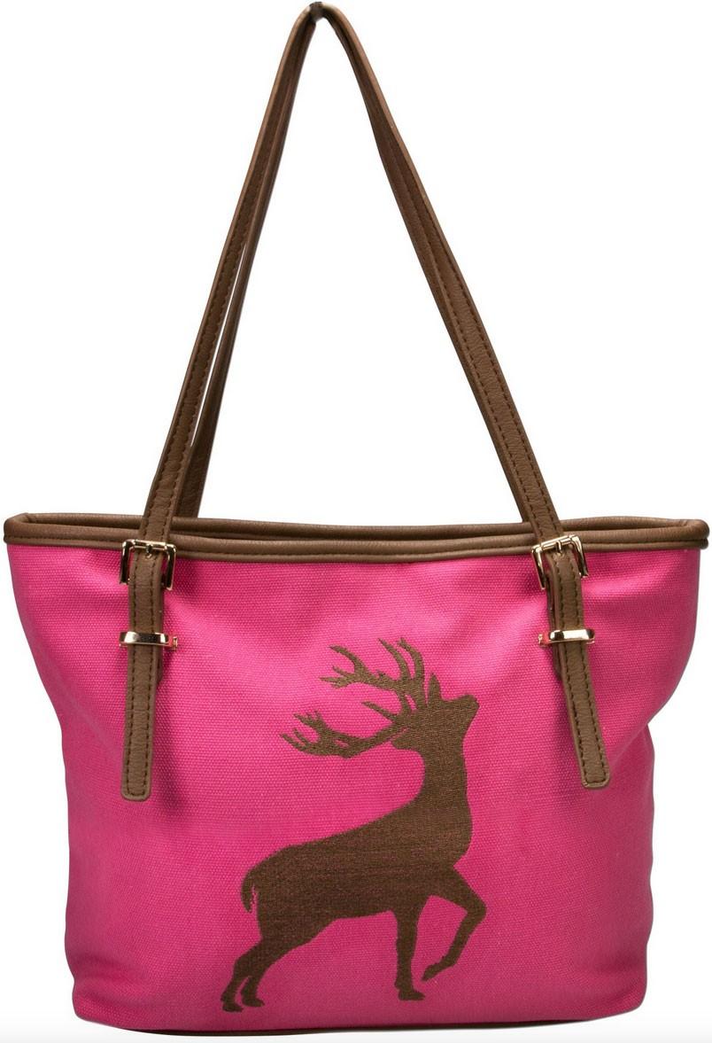 Trachten Handtasche mit Hirschstickerei pink