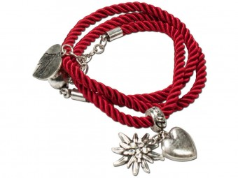 Braided Bracelet with Silver Charms, Red