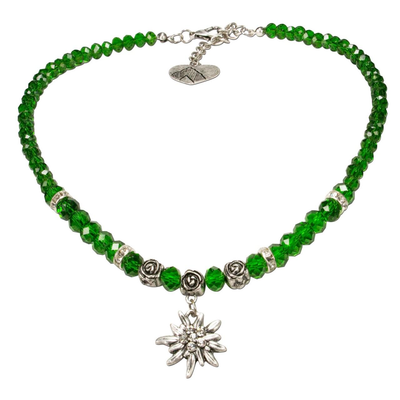 Naszyjnik z pereł mały zielony szarotka