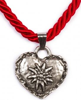 Kordelkette mit Edelweiß Herz, rot