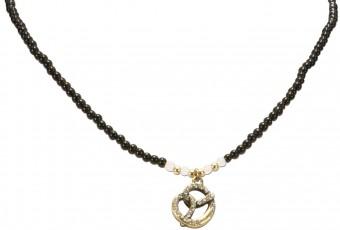Perlenhalskette Strass-Brezel schwarz