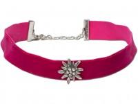 Preview: Fluwelen jurk breed met edelweiss roze