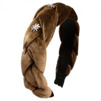 Vorschau: Samt-Haarreif Flechtoptik dunkelbraun