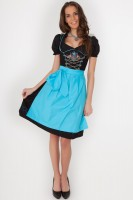 Preview: Dirndl Violetta, Turquoise-Black