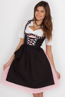 3-piece fantastic midi dirndl in black with a gingham skirt