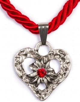 Kordelkette Herz mit Stein, rot