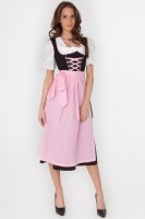 3-piece black dirndl with pink apron