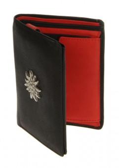 Geldbörse echt Leder schwarz-rot