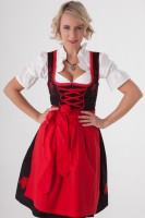 3-piece black midi dirndl with red embroidery