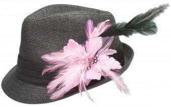 Trachtenhut Strohhut Federbrosche rosa