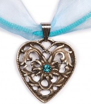 Dirndl Necklace - Bavarian Oktoberfest - Heart with Stone, turquoise