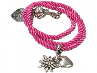 Braided Bracelet with Silver Charms, Pink